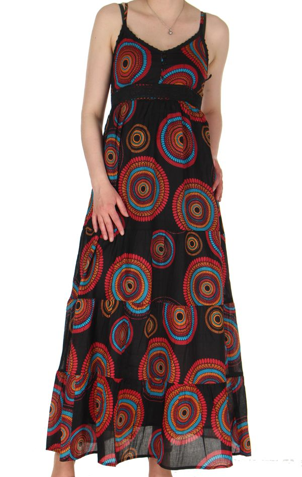 Robe longue d39ete ethnique et baba cool a fines bretelles for Robe d été noire à bretelles