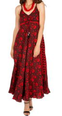 Robe longue d'été ethnique et bohème Nefasit rouge 314512