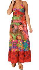Robe longue d'été Ethnique et Peace and Love Green Rouge 283620