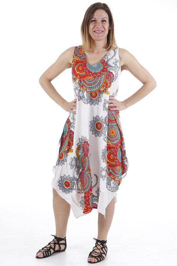 Robe longue d'été idéale pour la détente et col en V Anny 310676
