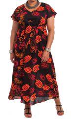 Robe longue d'été Imprimée et Colorée Kenzy Noire fleurie 284244