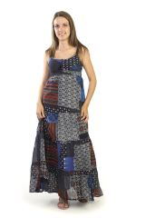 Robe longue d'été Imprimée et Ethnique Bleue Marine Pankajah 291217