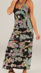 Robe longue d'été Imprimée et Fleurie Jeanne Noire 283616