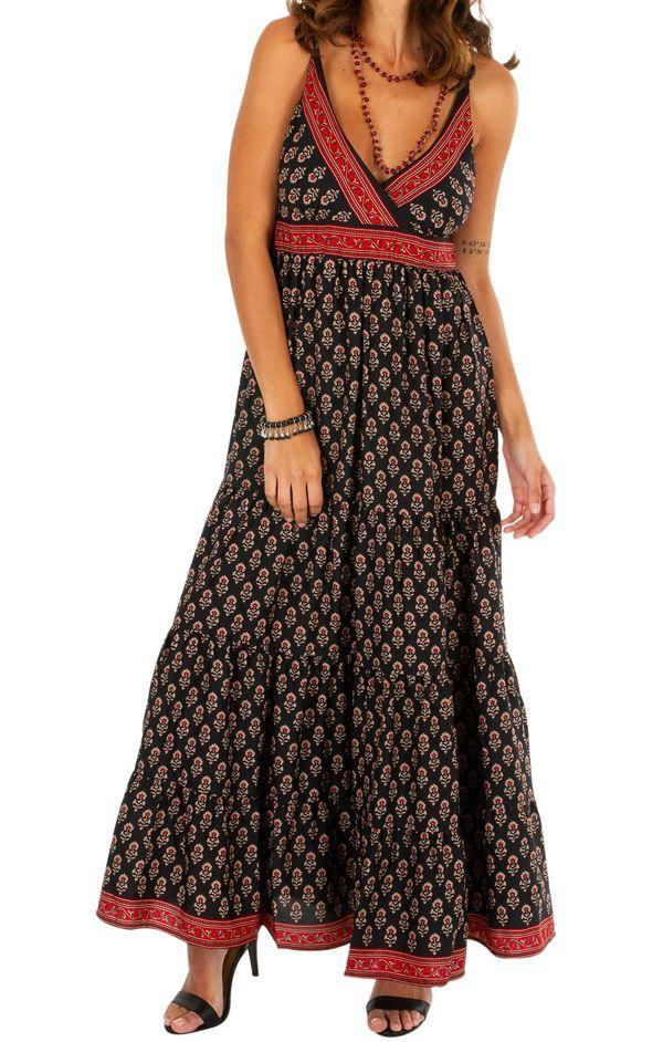 Robe longue d'été noire aux imprimés ethniques Myriam 311490