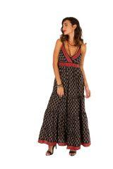 Robe longue d'été noire aux imprimés ethniques Myriam 311491