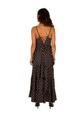Robe longue d'été noire aux imprimés ethniques Myriam 311492
