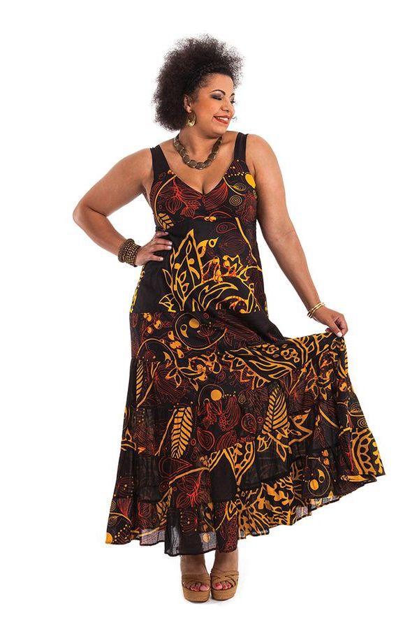 Robe longue d 39 t noire grande taille originale et color e b a - Robe d hotesse grande taille ...