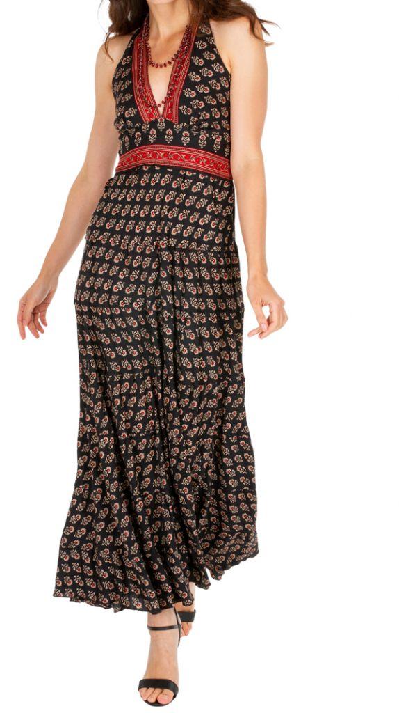 Robe longue d'été noire imprimée et ethnique Joanie 310304