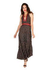 Robe longue d'été noire imprimée et ethnique Joanie 310305