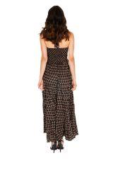 Robe longue d'été noire imprimée et ethnique Joanie 310306