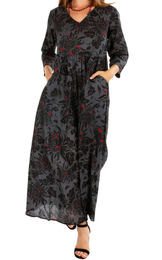 Robe longue plissée noire pour femme à manches