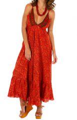 Robe longue d'été originale aux teintes chaudes Chiara 311475