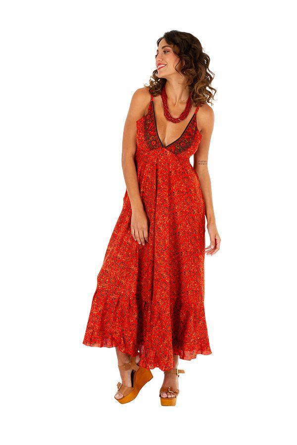 Robe longue d'été originale aux teintes chaudes Chiara 311476
