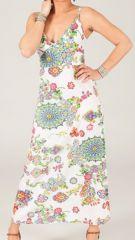 Robe longue d'été Originale et Imprimée Lana Blanche 283622