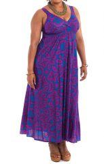Robe longue d'été Originale et Smockée Sylvia Bleue 284358