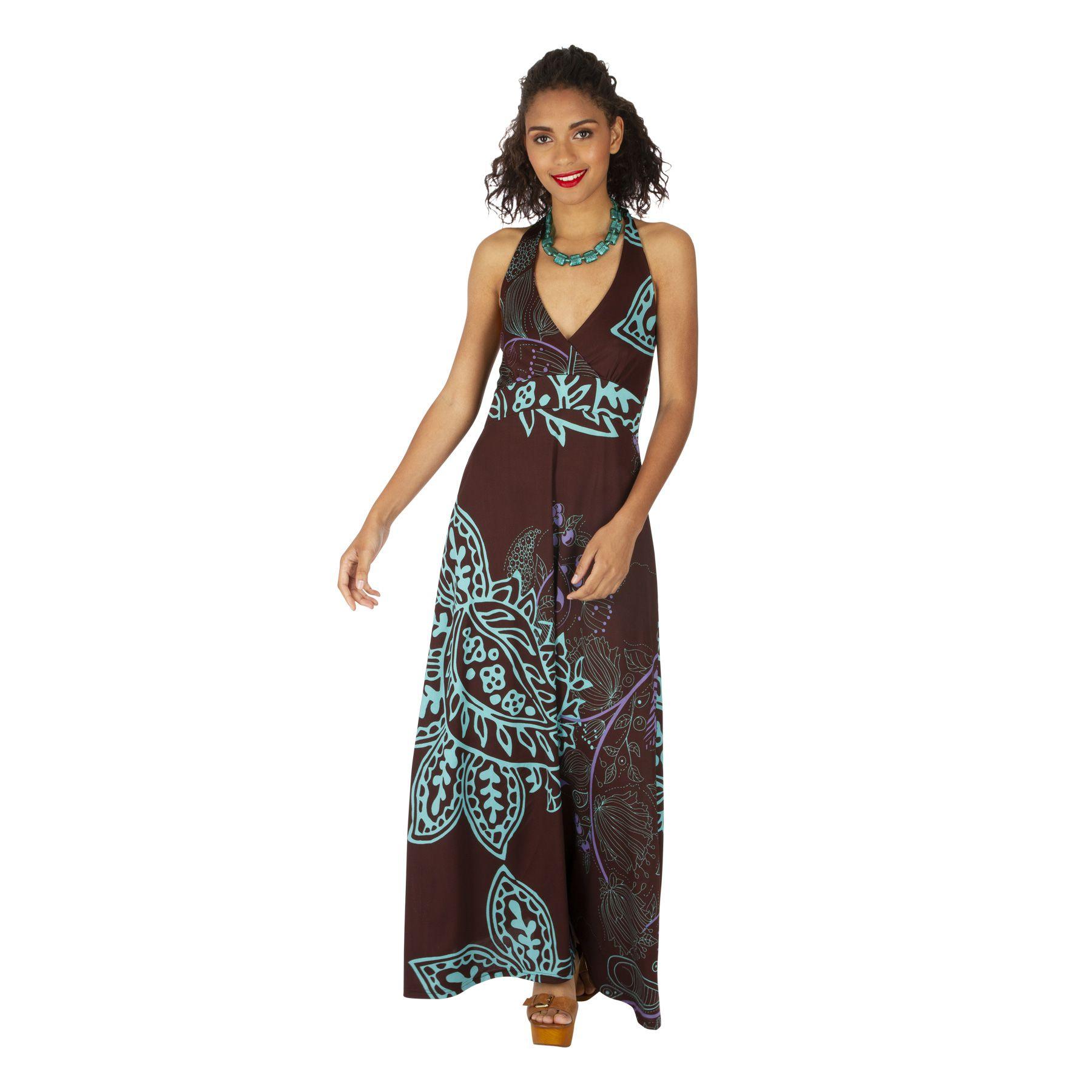 Robe longue d'été pour femme au col en V ethnique Maiwou 318517