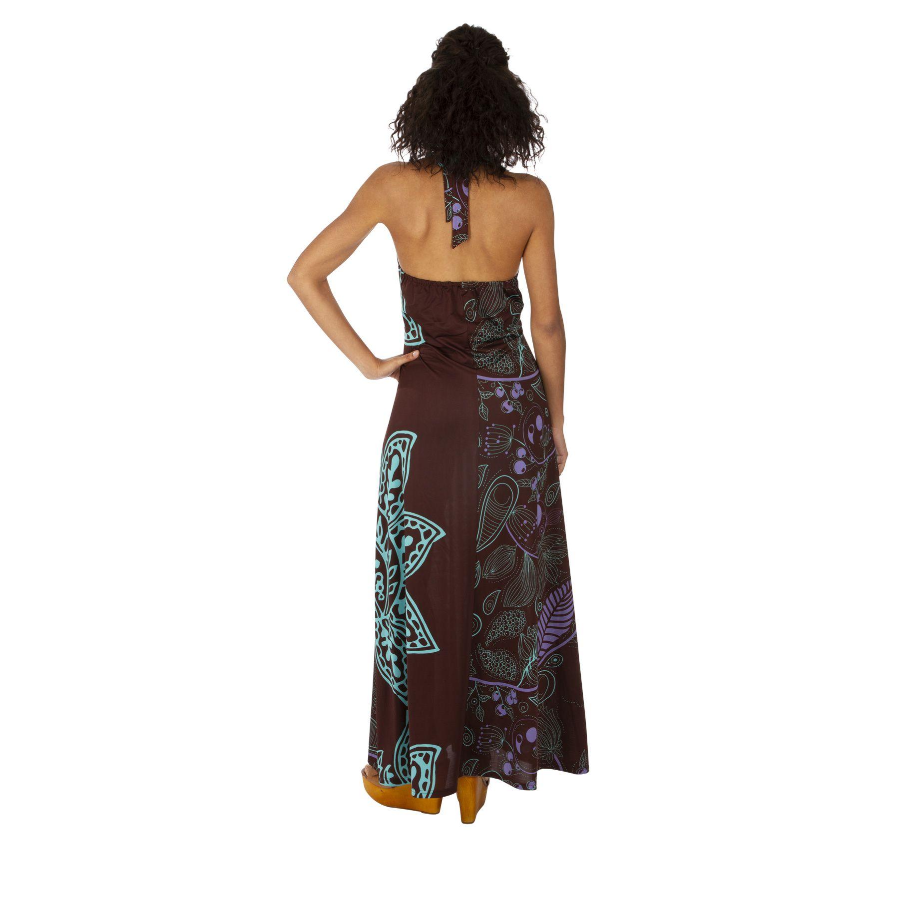 Robe longue d'été pour femme au col en V ethnique Maiwou 318518