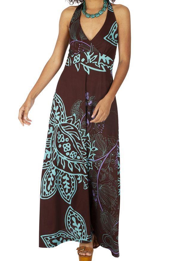 Robe longue d'été pour femme au col en V ethnique Maiwou 318519