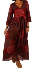 Robe longue d'été pour femme bohème et zen Zomba bordeaux 314796