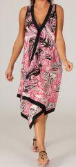 Robe longue d'été Rose sans manches Asymétrique Mirandela 280420
