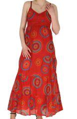 Robe longue d'été Rouge à fines bretelles Ethnique et Baba-Cool Durga 284078