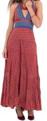 Robe longue d'été Rouge à Tour de cou Colorée et Originale Lasmy 280773