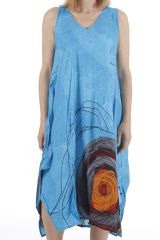 Robe longue d'été sans manches ethnique et colorée Lacy 310671