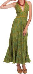 Robe longue d'été Verte à Tour de cou Originale et Colorée Lasmy 280757