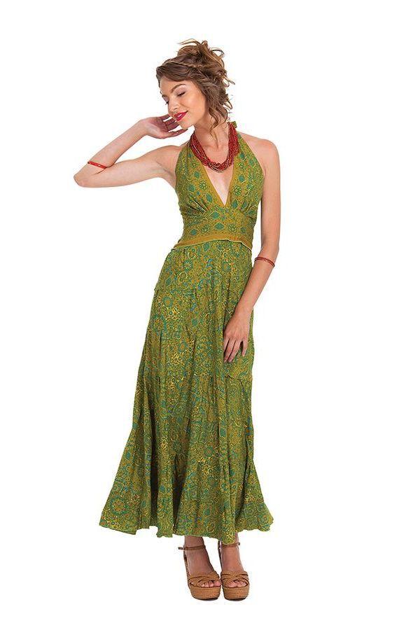 Robe longue d'été Verte à Tour de cou Originale et Colorée Lasmy 280758