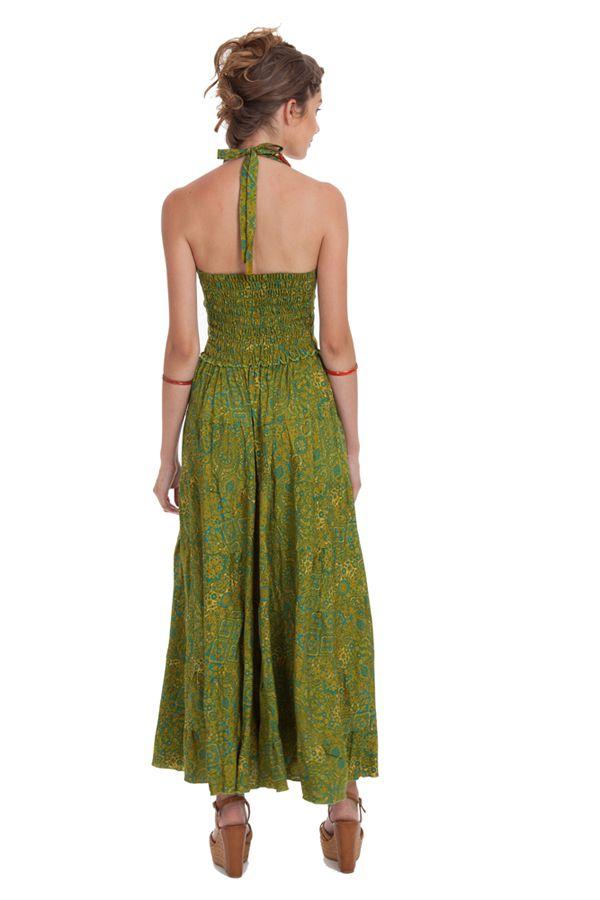 Robe longue d'été Verte à Tour de cou Originale et Colorée Lasmy 280759