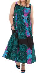 Robe longue d'été XXL Colorée et Ethnique Claudia Verte 284394