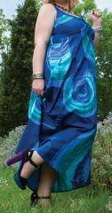 Robe longue d'été XXL Ethnique et Colorée Bleue Nuancé Claudia 284384