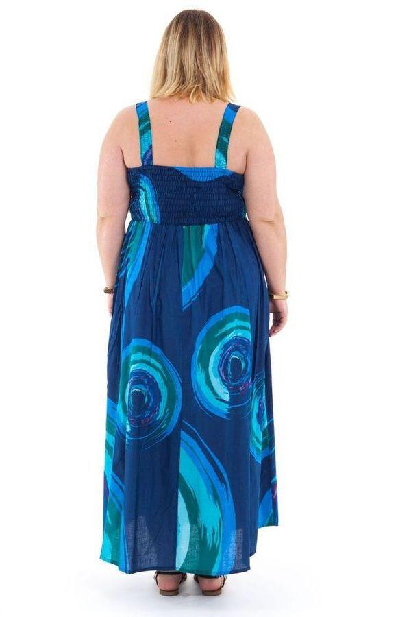 Robe longue d'été XXL Ethnique et Colorée Bleue Nuancé Claudia 284385