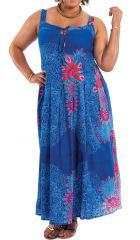 Robe longue d'été XXL Ethnique et Colorée Claudia Bleue Mandalas 284386