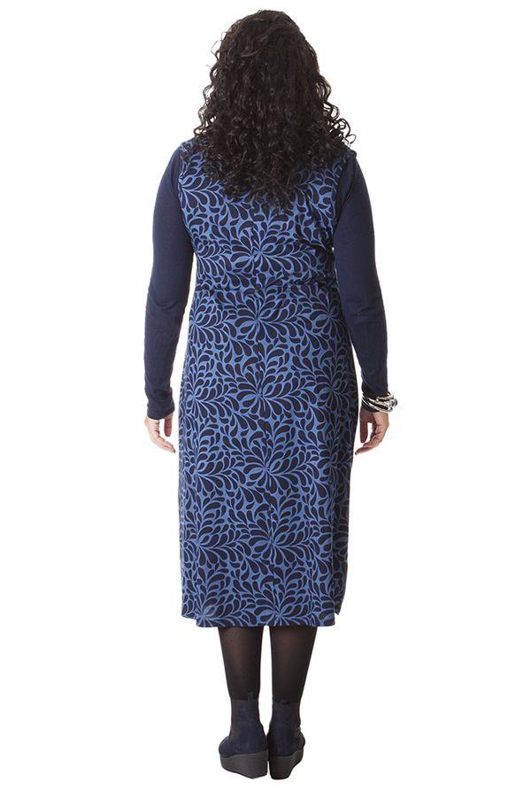 790a93bd512 Robe longue d hiver en Grande taille et Sans manches Carley Bleue