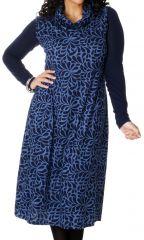 Robe longue d'hiver en Grande taille et Sans manches Carley Bleue 286981