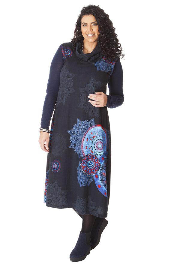 robe longue d 39 hiver noire en grande taille et sans manches carley. Black Bedroom Furniture Sets. Home Design Ideas