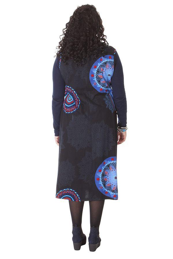 3fd399e133c Robe longue d hiver Noire en Grande taille et Sans manches Carley