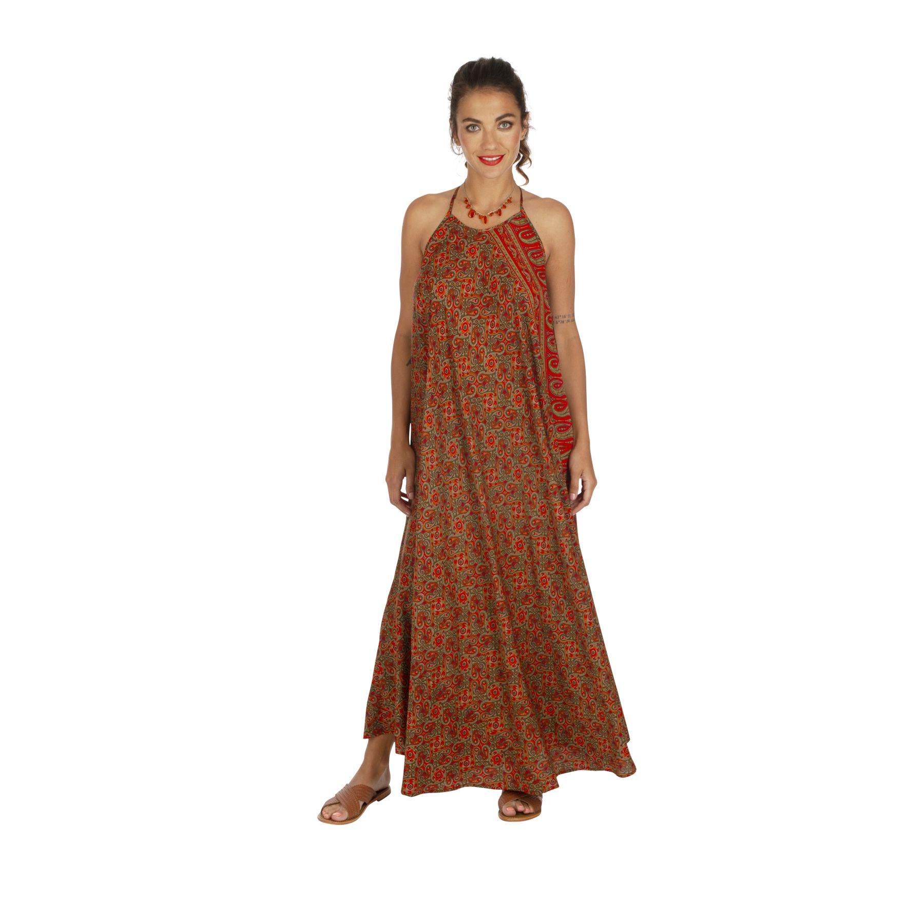 Robe longue de plage à dos nu et ethnique pour femme Karmy