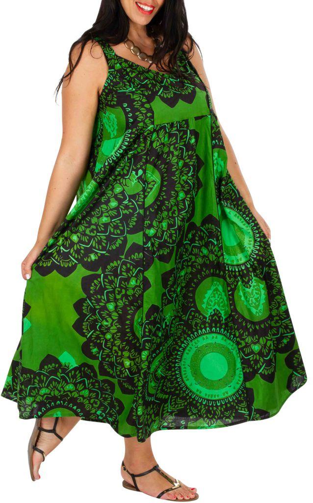 Robe longue de plage verte femme grande taille Monica 309586
