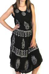 Robe longue débardeur Imprimée et Originale Noir et Blanche Hina 291597