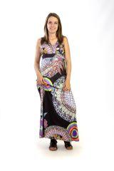 Robe longue débardeur Imprimée Ethnique et Originale Noire Polie 291261