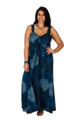 Robe longue décolletée grande taille bleue marine Sisley