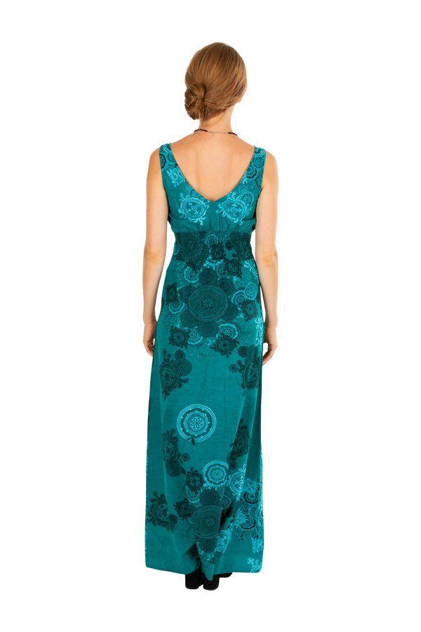 Robe longue décolletée plongeant bleue turquoise Amalia