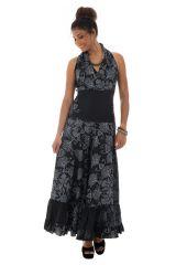 robe longue élégante avec mandalas et col en cache coeur noire et blanche Rakel 289276