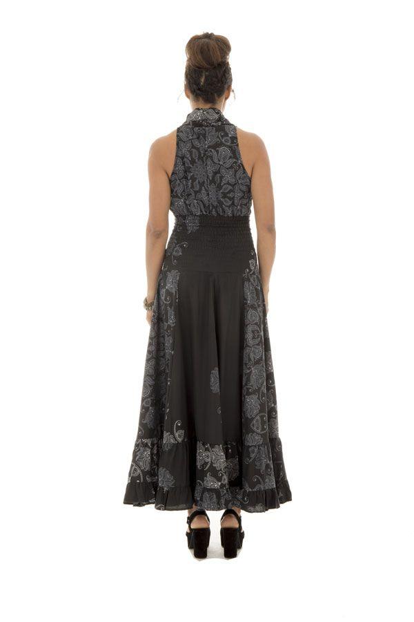 robe longue élégante avec mandalas et col en cache coeur noire et blanche Rakel 289277
