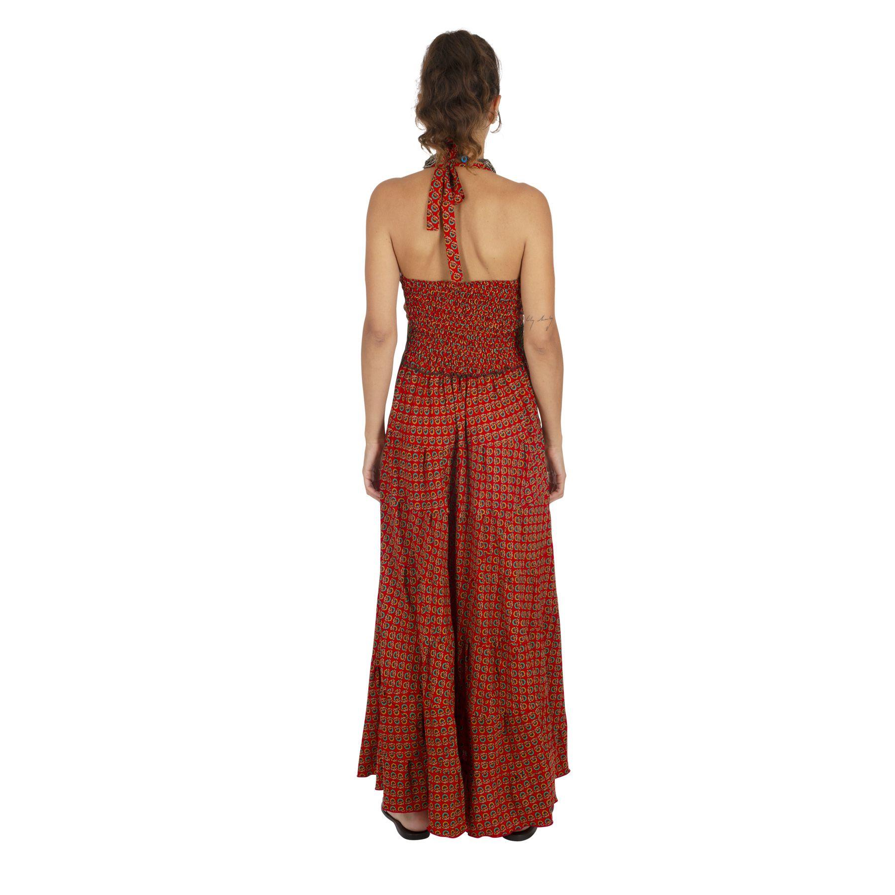Robe longue élégante en imprimé wax version gypsie Maddon