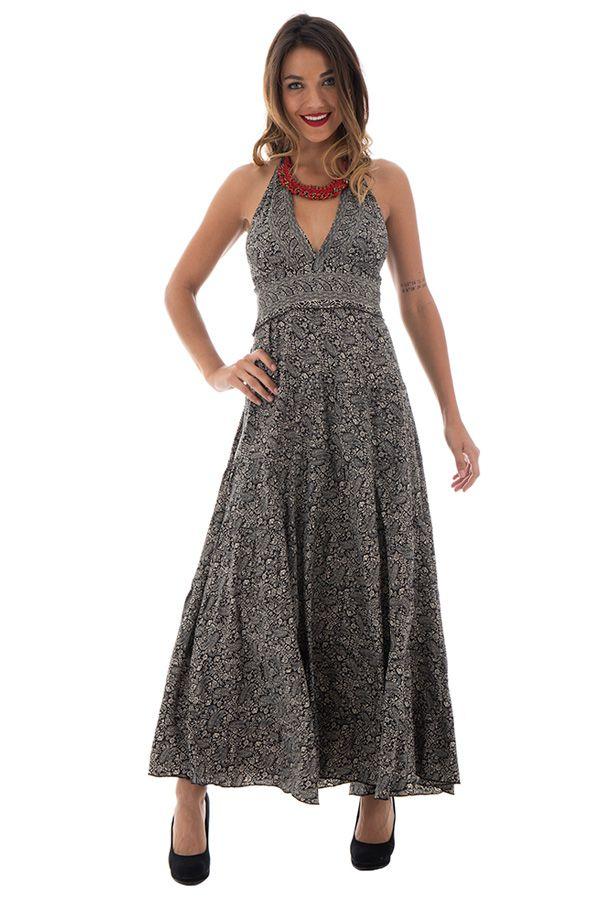 robe longue élégante smockée au dos et col pigeonnant Kirby 289734