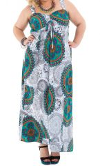 Robe longue et Décolletée Grande taille Jeanet Blanche à Mandalas 284352
