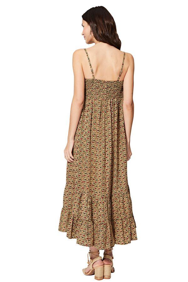 Robe longue et large esprit bohème chic imprimé fleurs Romy